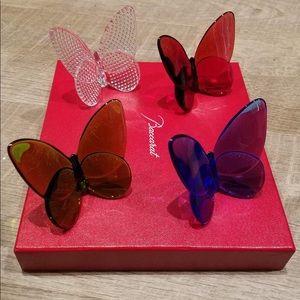 BNIB-Baccarat Crystal Lucky Butterfly Set